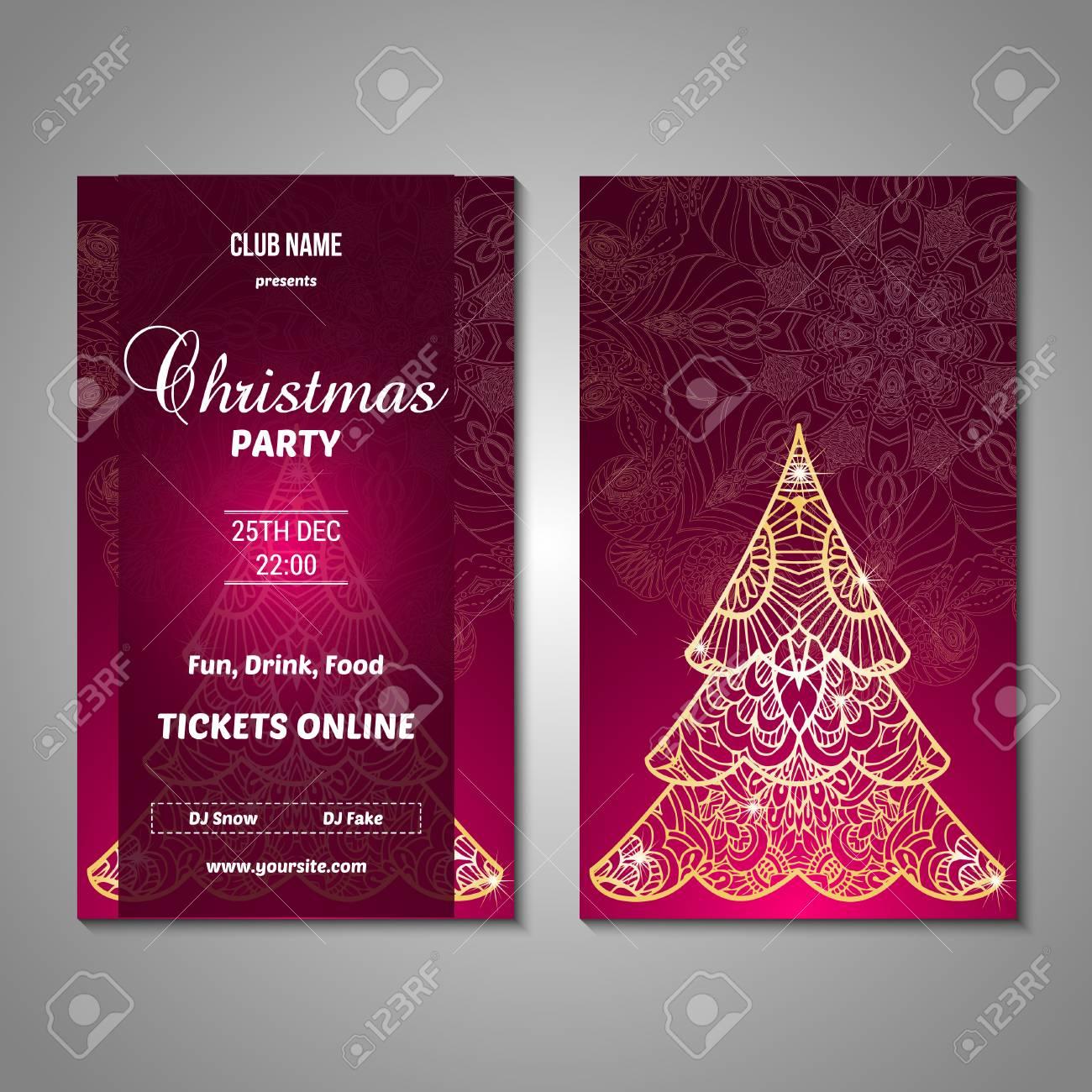 Set Of Stylized Christmas Tree Invitation, Flyer, Sale, Discont ...