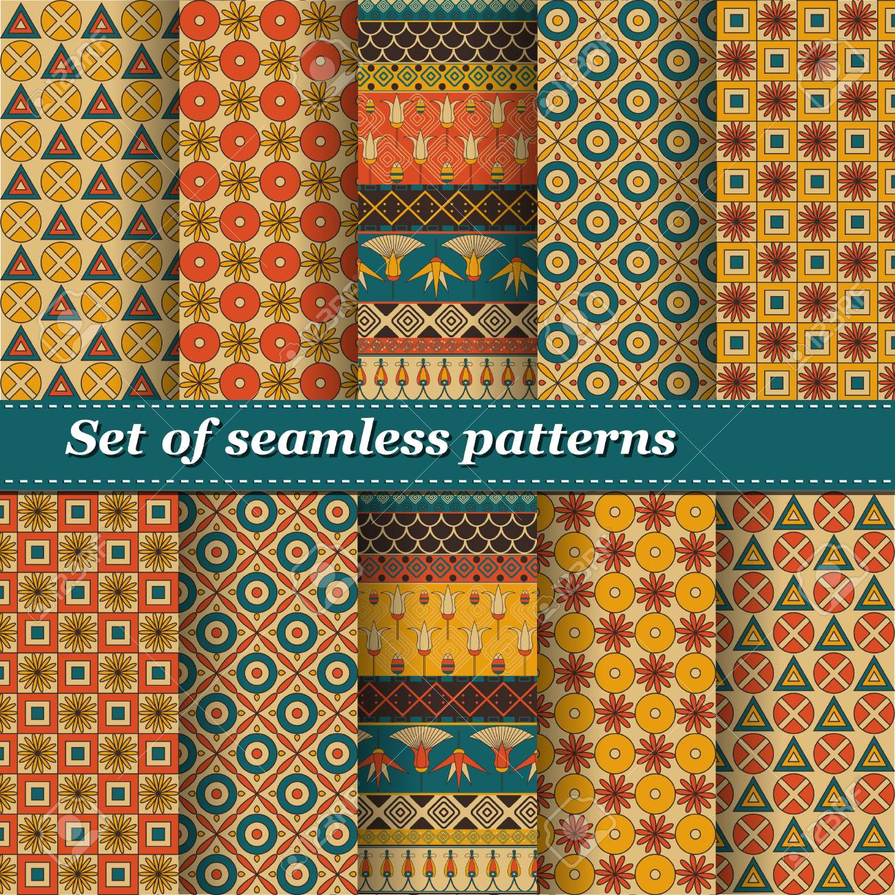 Set of Ancient Egyptian ornament Tribal seamless pattern  ?an