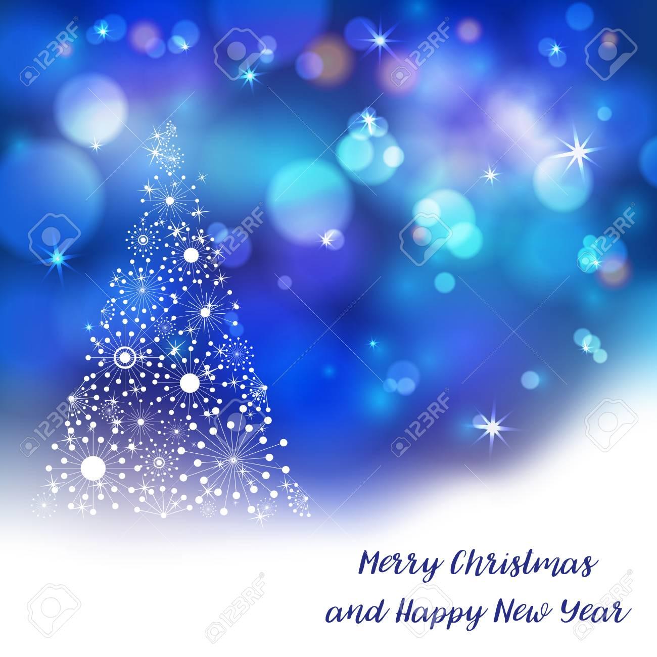 Stylized Christmas Tree On Decorative Bokeh Background Lettering ...