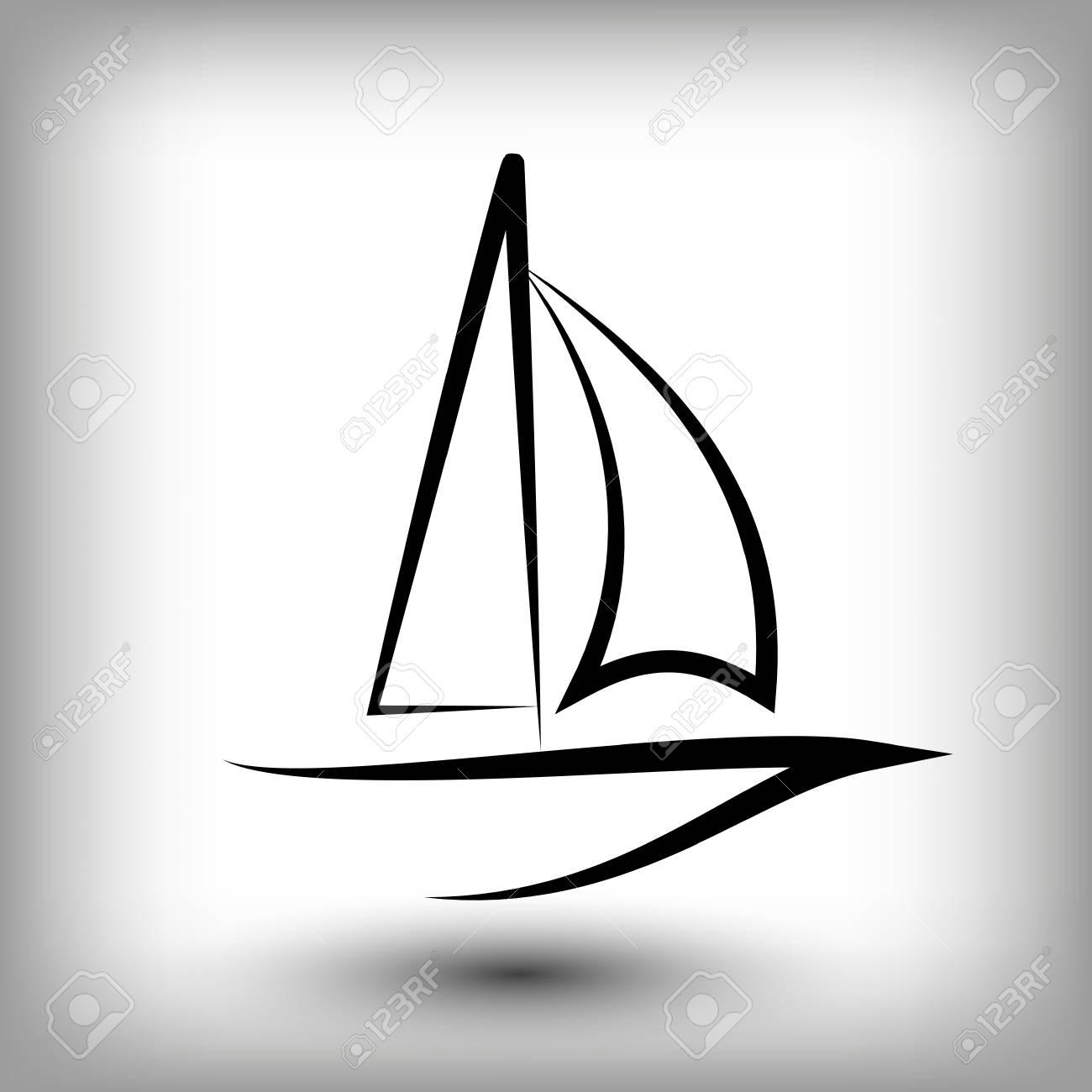 yacht logo templates sail boat silhouettes line sail icon