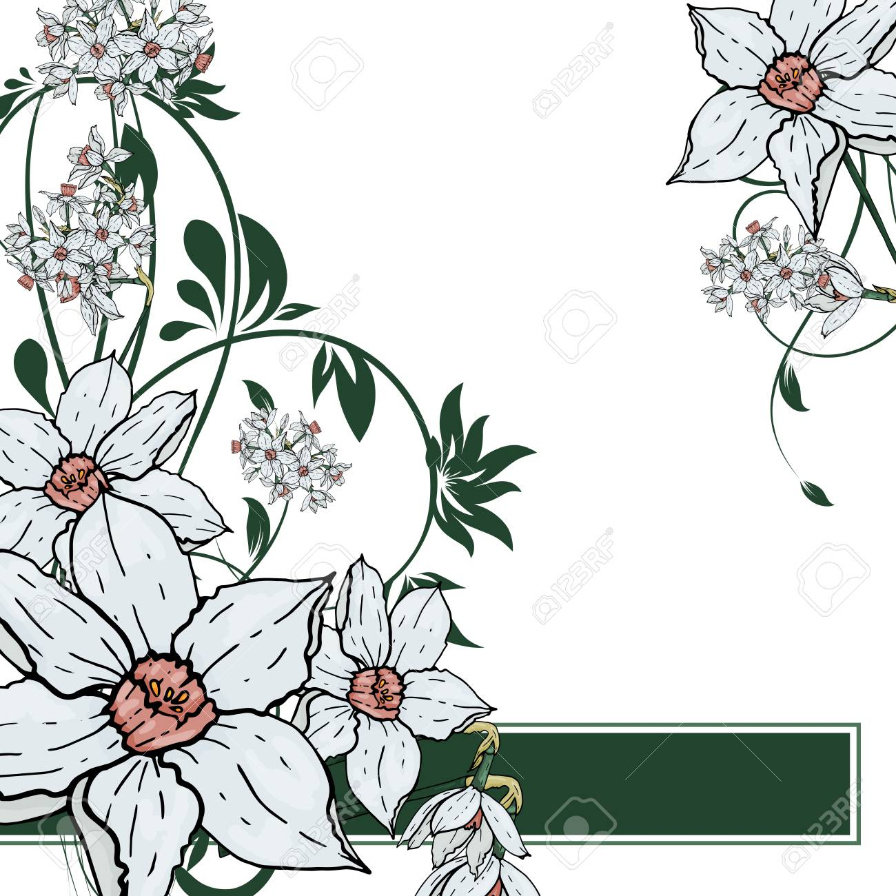 Abstract Vector Hand Drawing Narcissus Flower Background Flower Invitation Save The Date Card Template Abstract Elegant Pattern Ector Design