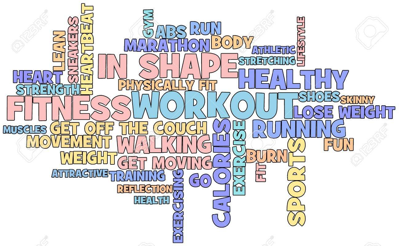 Fitness themed word cloud isolated on white background Stock Photo - 8567059