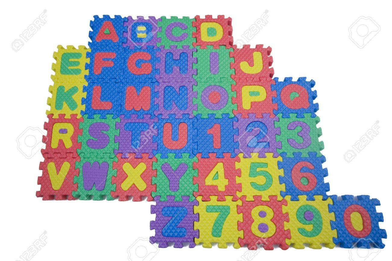 foam letters and numbers isolated on white background stock photo 8775137