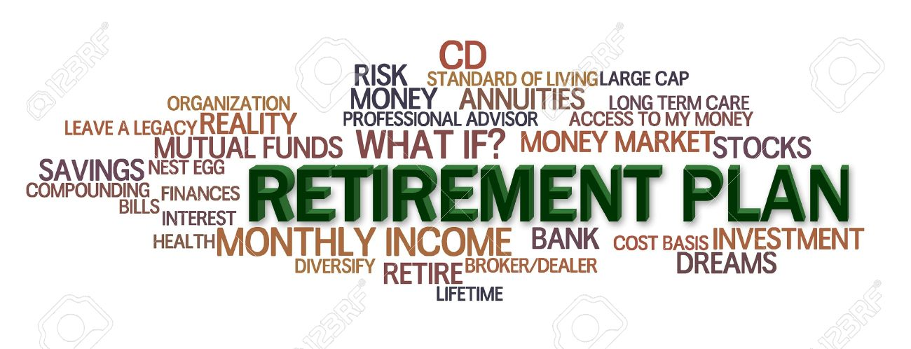 retirement plan word cloud with financial words stock photo picture