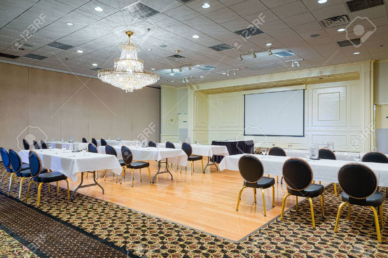 Empty Hotel Conference Meeting Room With Chairs And Tables Set - Conference room table set