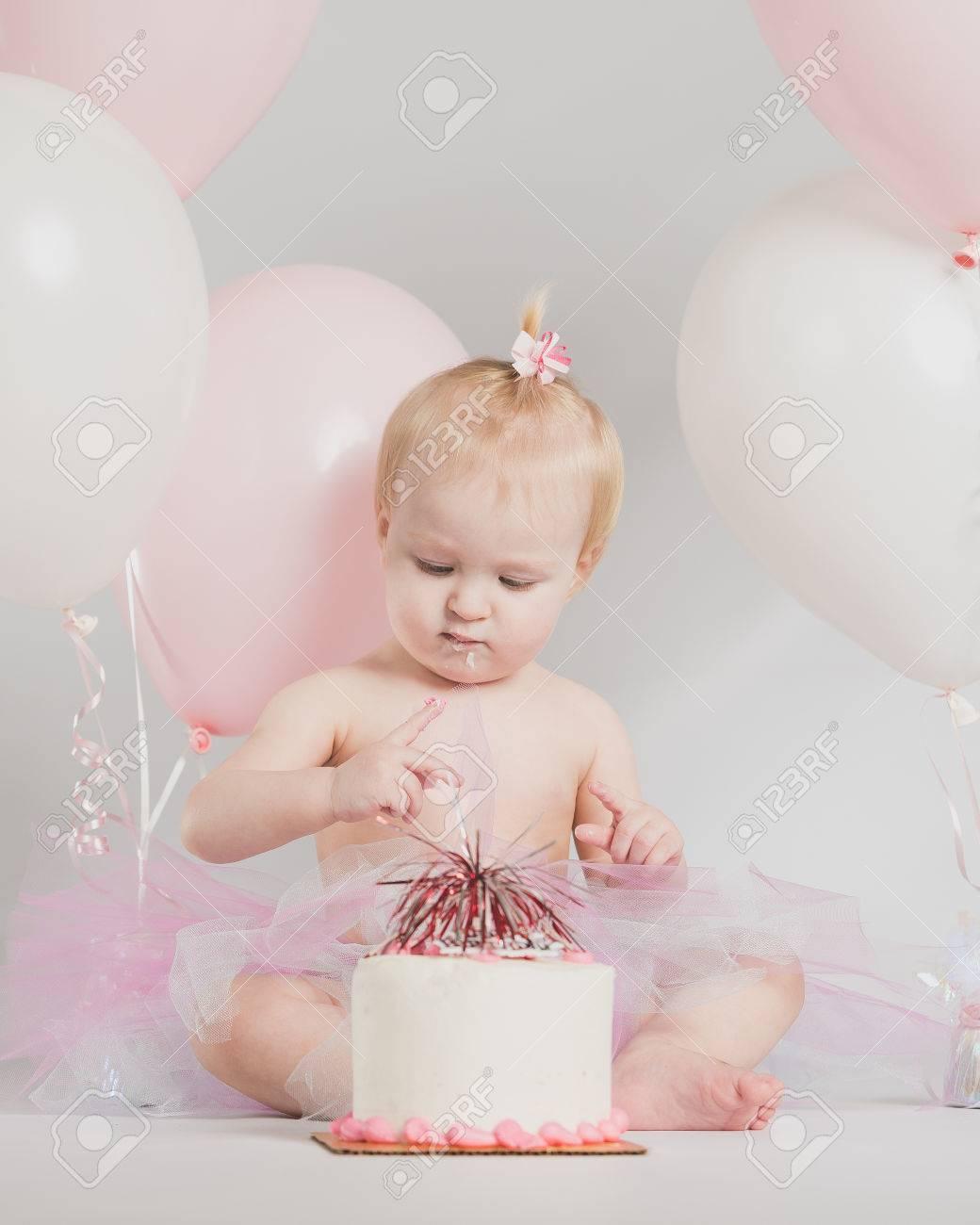 Fine One Year Old Girl Birthday Portraits With Smash Cake Stock Photo Funny Birthday Cards Online Inifodamsfinfo