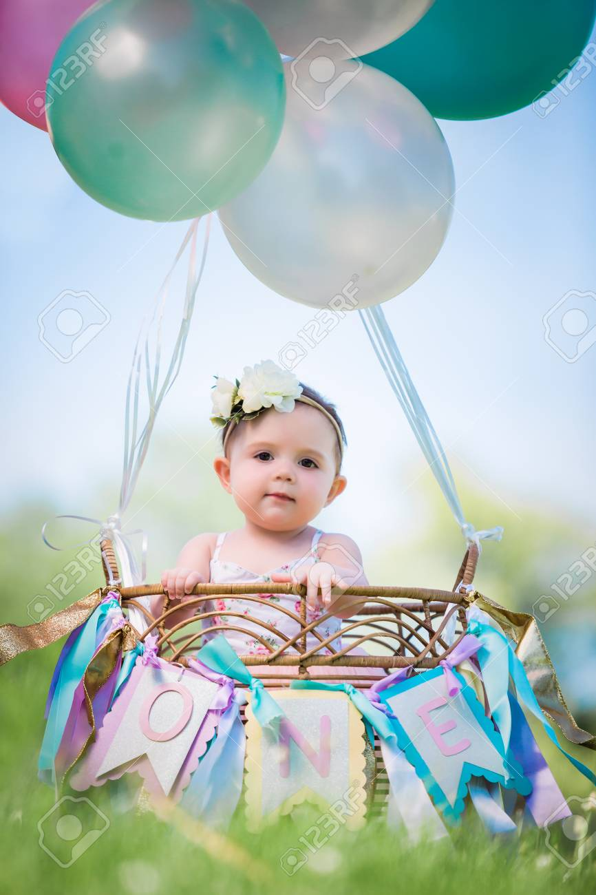 Groovy One Year Old Caucasian Girl In Cute Hot Air Balloon Basket For Funny Birthday Cards Online Necthendildamsfinfo