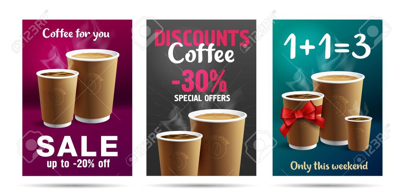 Promotion set of posters or flyers template design for cafe with coffee cups illustrations, buy one get three with red ribbon gift bow or discounts - 139702733