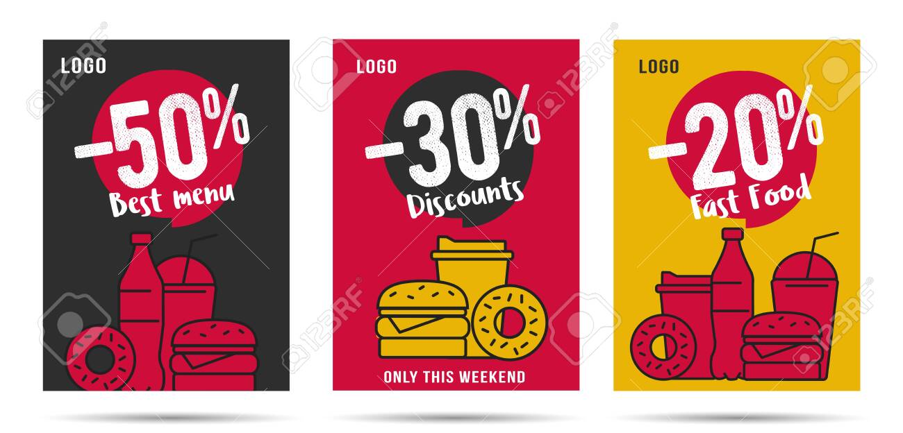 Discount posters set for fast food restaurant or delivery service, template design with linear food and drinks combo menus for snack and lunch - 143930826