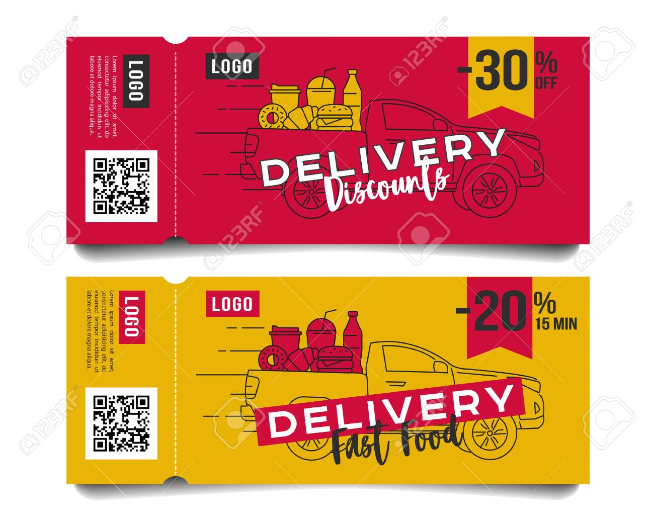 Discount voucher for fast food restaurant or delivery service, template design with truck car ful of food and drinks menu line illustration layout compisition - 143930827