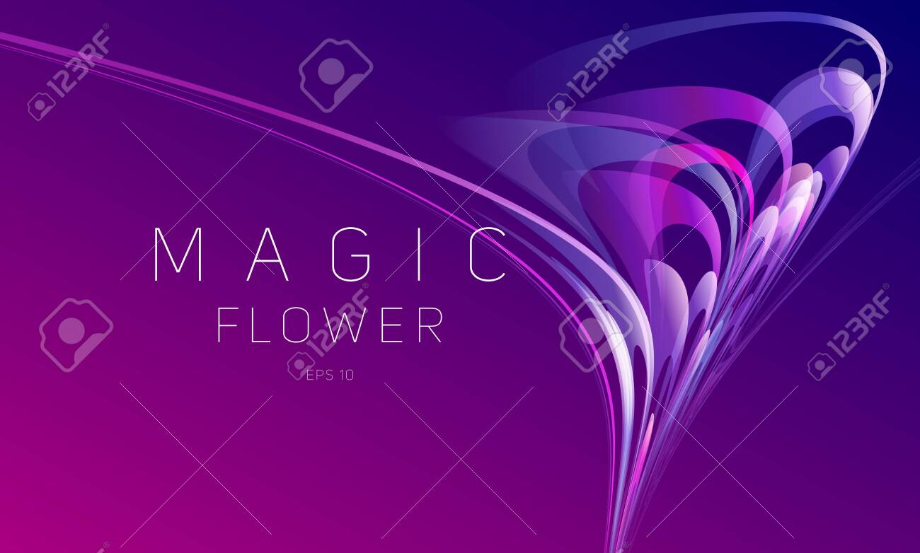 Abstract dynamic composition of gradient blured lines forming flower blossom composition moving in chaotic vectors, wallpaper - 147425051