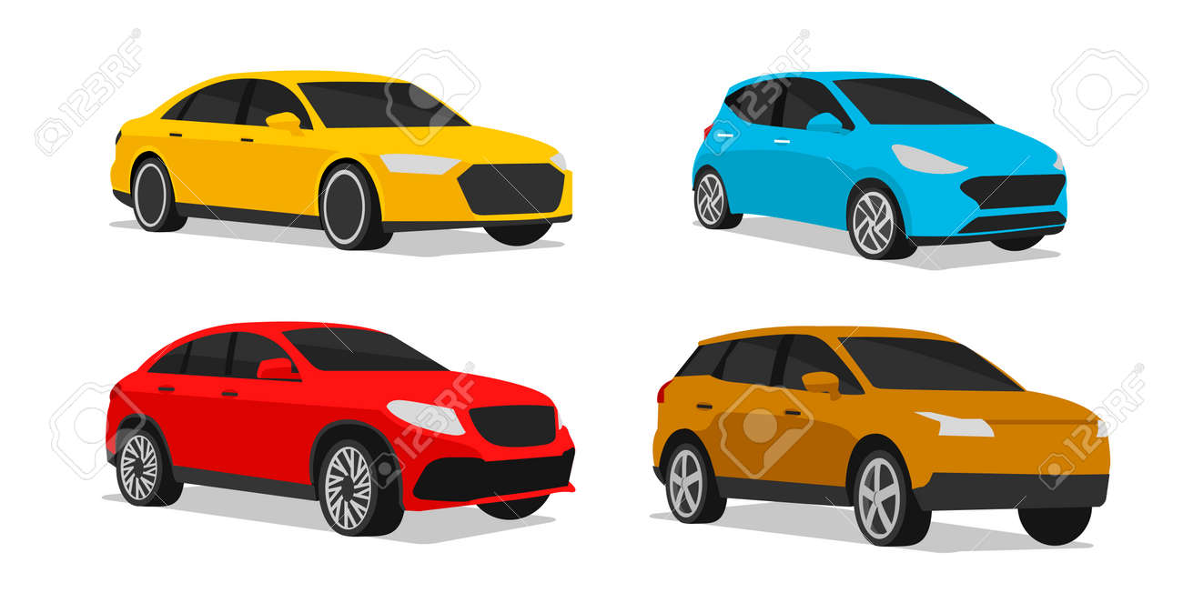 Set of car illustration of different vehicle type model in different colors, stylized silhouette, simle icon - 168013368