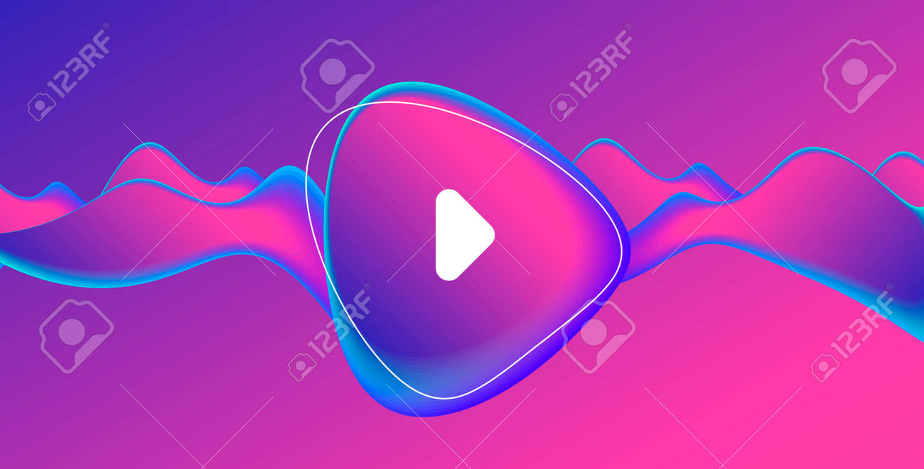 Music album or single cover with abstract fluid amorphic shape in fluorescent blue and pink gradient with play button - 171187171