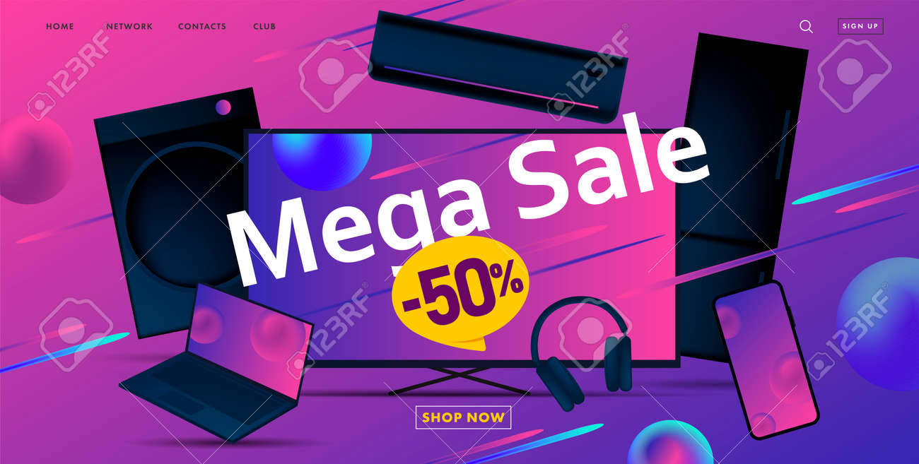 Mega sale advertiving banner with 3d illustration of dofferent home and smart electronic devices, discount up to fifty - 171187199
