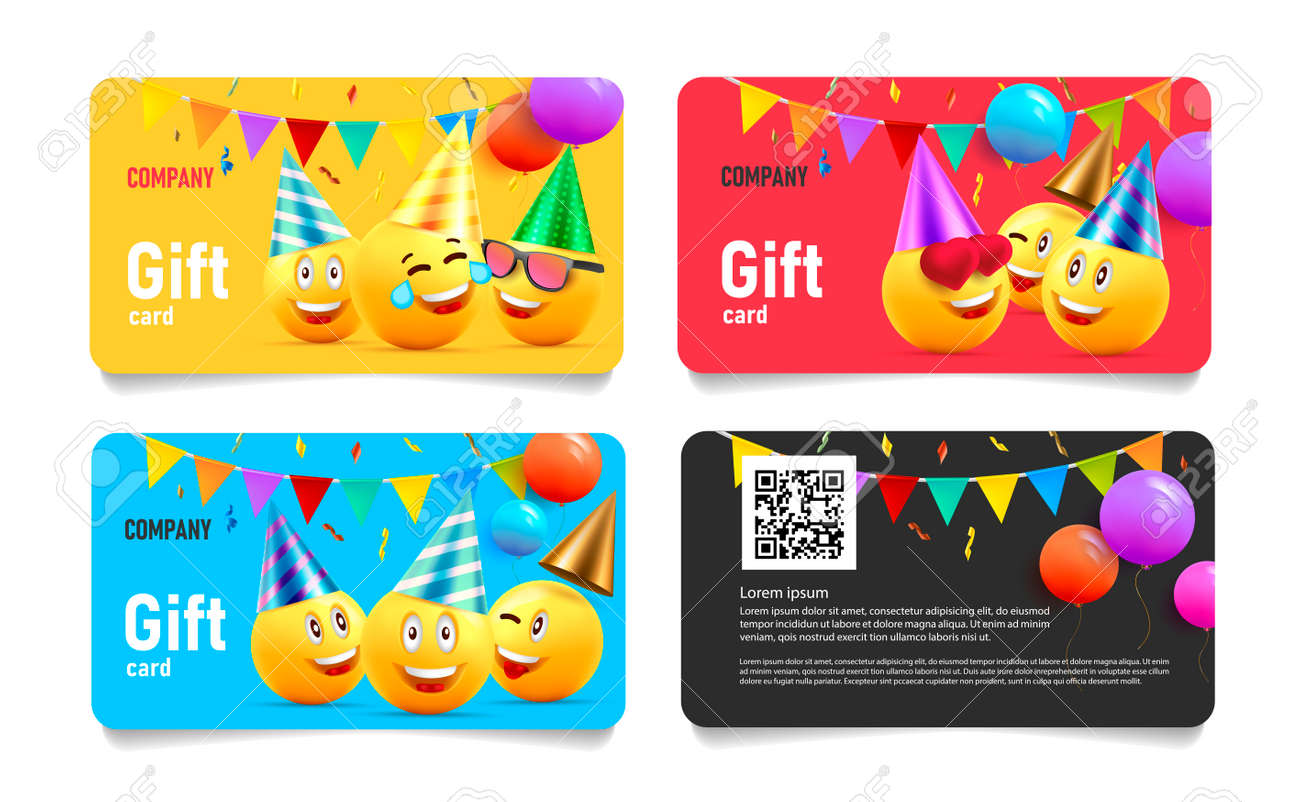 Set of birthday gift cards, template layout with funny illustration of yellow heads in hats with balloons and festive flags - 172591293