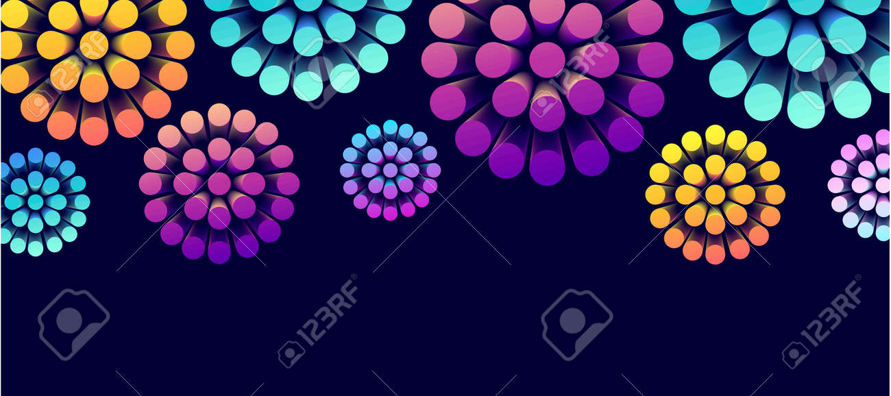 Abstract background with 3d shapes forming round flower, bright cyliders spreading from the center on dark backdrop - 172591298