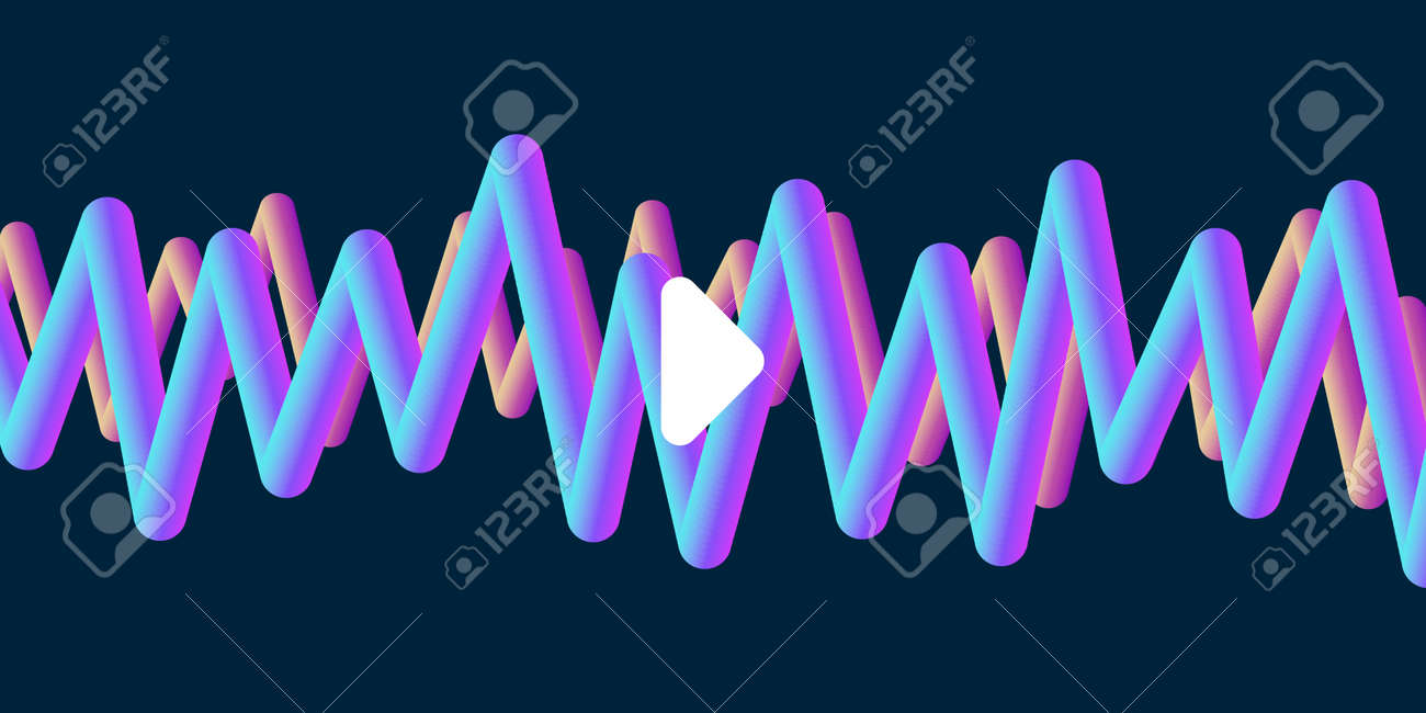 Abstract music album or single cover with 3d volum waves and play button - 172591297