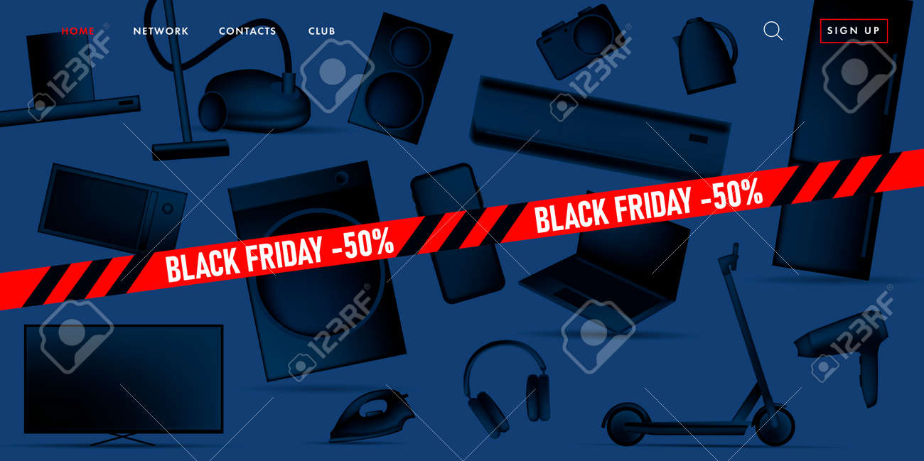 Black Friday sale advertiving banner on promo landing page with 3d illustration of different home and smart electronic devices, black gradient stylized objects with red ribbon - 172591304