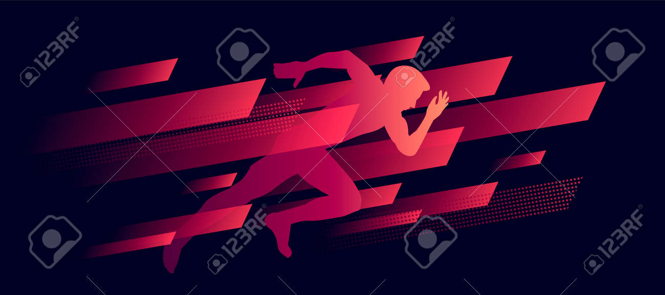 dynamic composition, running man illustration silhouette in speed geometric shapes, red on dark - 172502783
