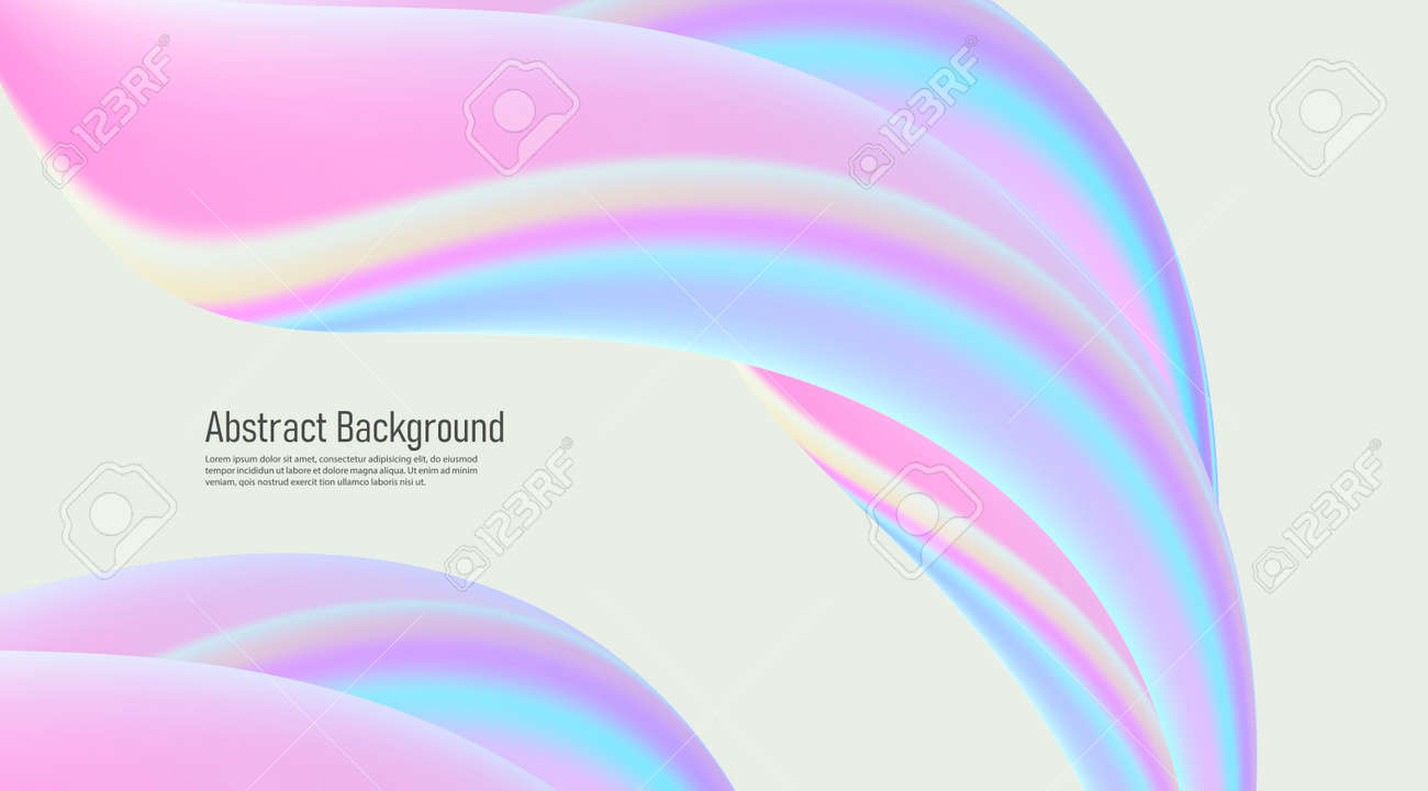 Abstract background with fluid 3d shapes, glossy pastel colors, soft lines forming composition - 172501198