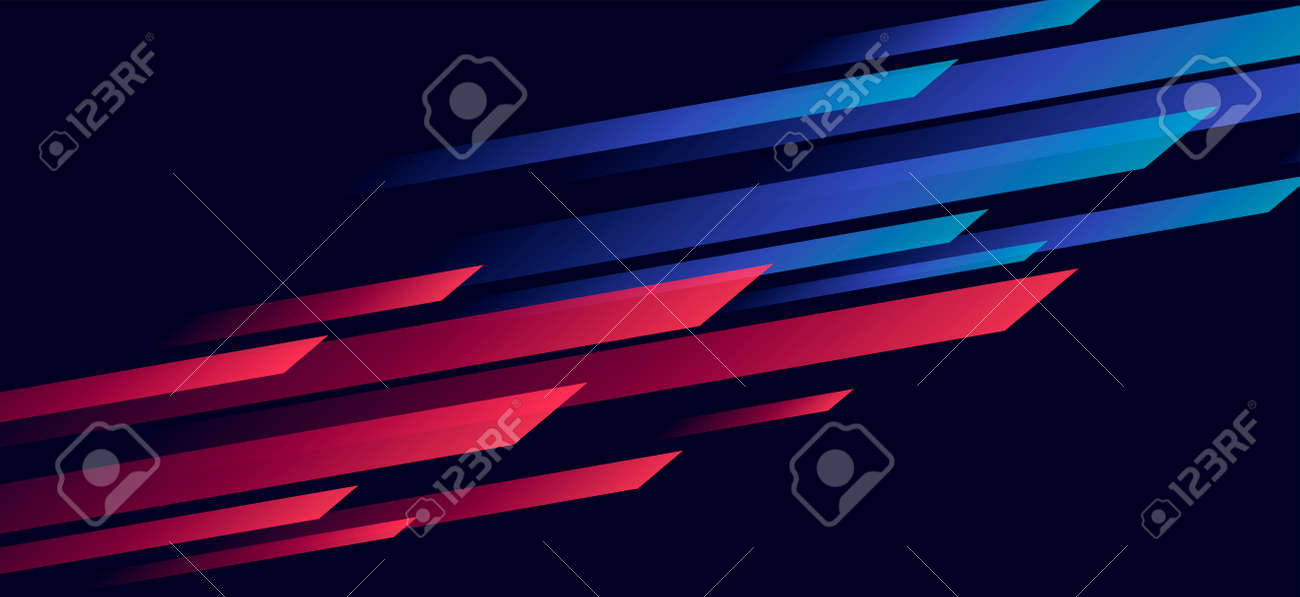 Speed dynamic background with rectangular shapes in motion forming texture, sport background, red and blu lined in dark space - 172547782