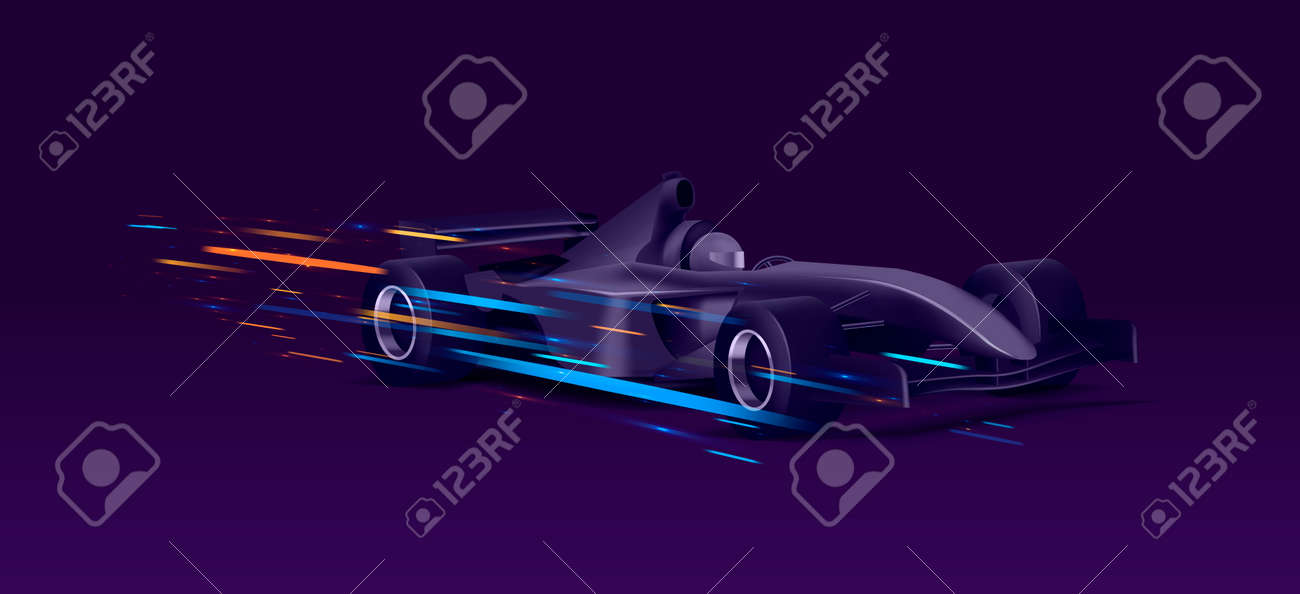 Web banner with super car sport bolide, black auto in movement with bright speed lights on dark background, graphic element - 173869252