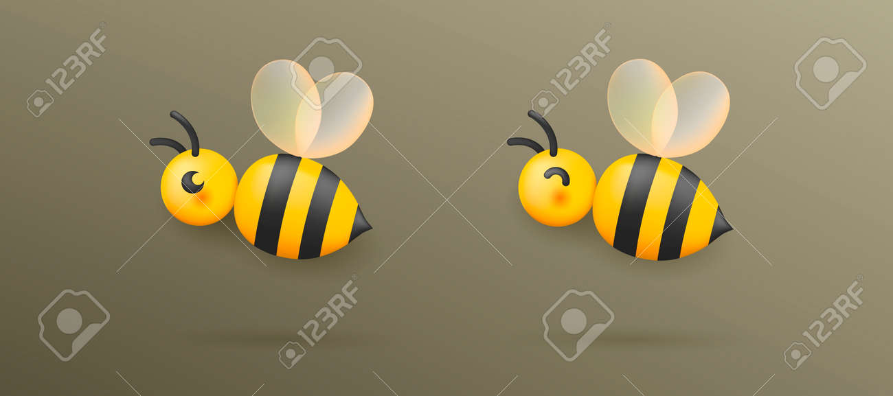 Vector illustration of the bee with transparent wings, glossy cartool icon - 173869253