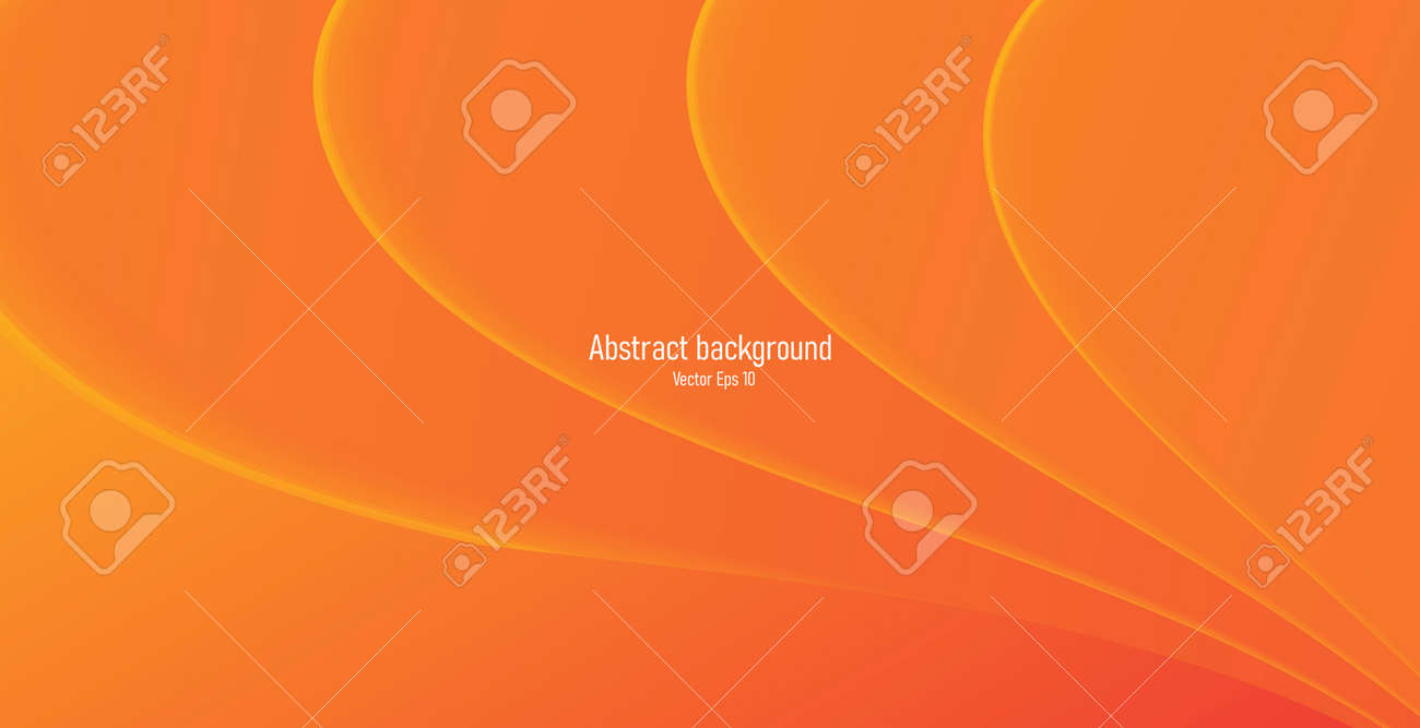 Abstract orange background with monochrome orange waves creating spreading from the corner of the composition - 173869257