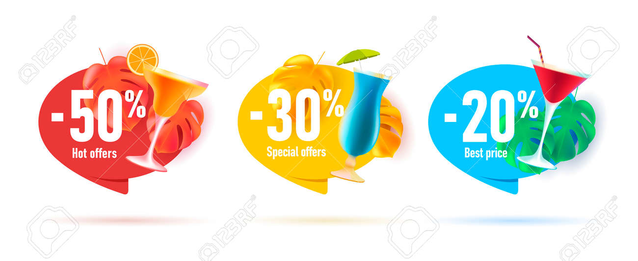 Set of beach bar cocktail discounts stickers or tags with 3d palm leaves and glass cocktails with percent off - 173869279