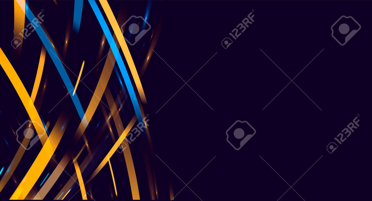 Blue and yellow flares of light forming abstract texture of striped rays in random movement with place for text - 173869280