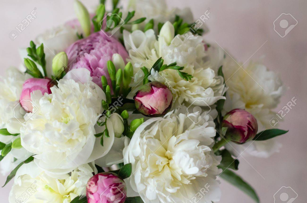 Bride Bouquet Of Wedding Flowers White Peony. Wedding Day Decoration ...