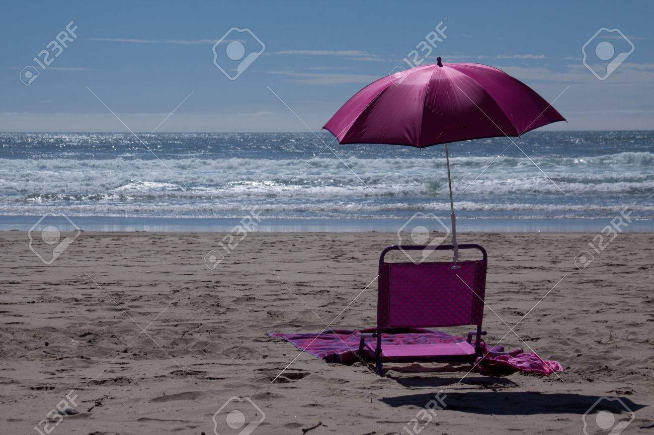 A Pink Beach Chair And Umbrella On The Beach Stock Photo Picture And Royalty Free Image Image 25959327