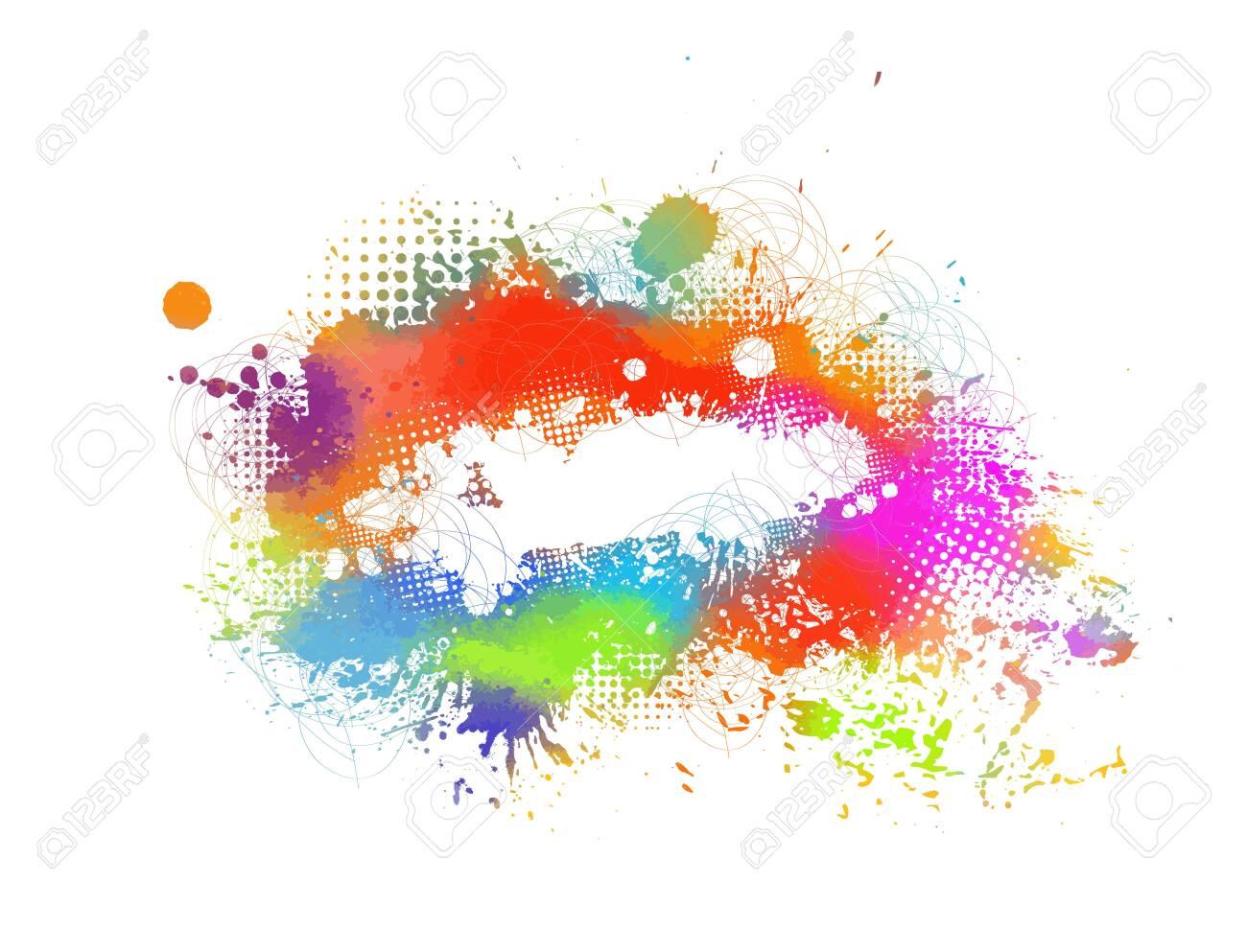 Multi color blots background. Vector illustration - 155388853