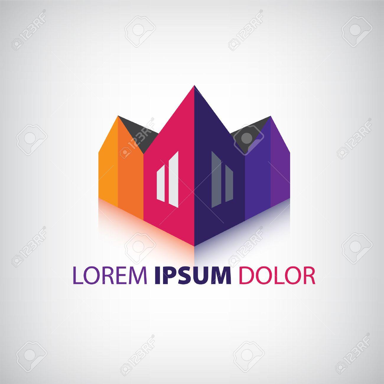 vector d casas icono logotipo de la empresa edificios aislados foto de archivo