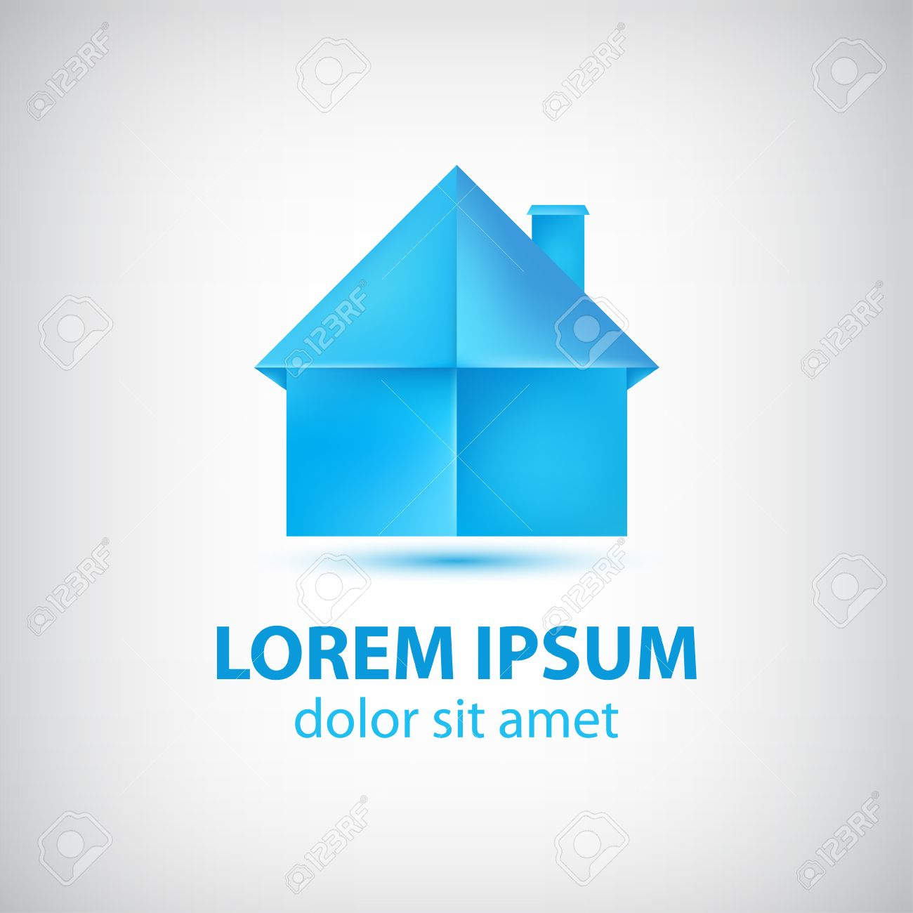 Vector Paper Origami Blue House Icon Logo Isolated Royalty Free
