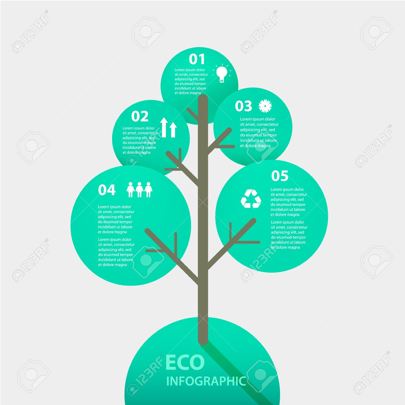 vector green tree sign infographic  template for diagram  graph    vector   vector green tree sign infographic  template for diagram  graph  presentation and chart  eco concept   options  parts  steps or processes