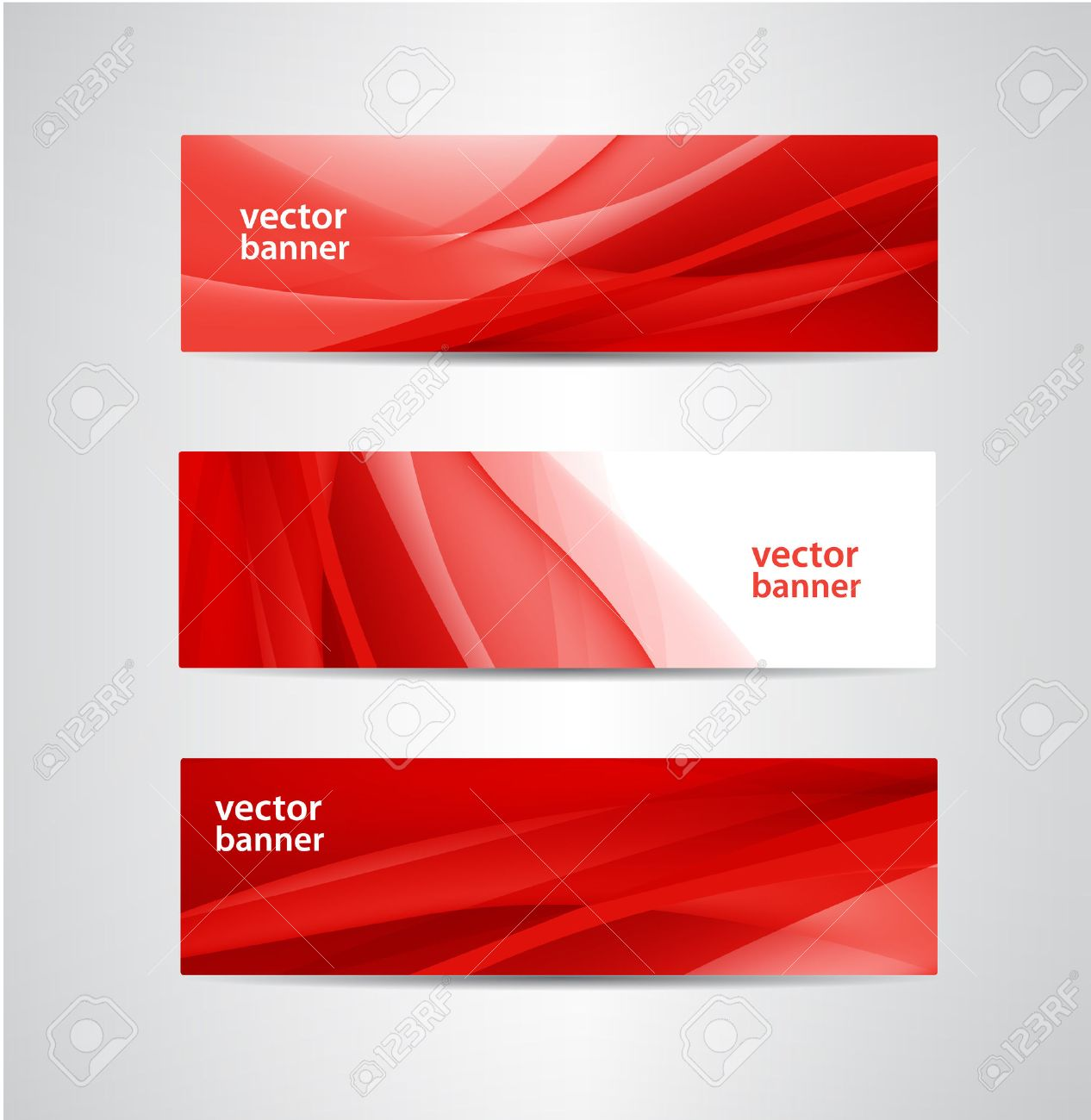 set of vector abstract red silk flow wavy banners - 36657077
