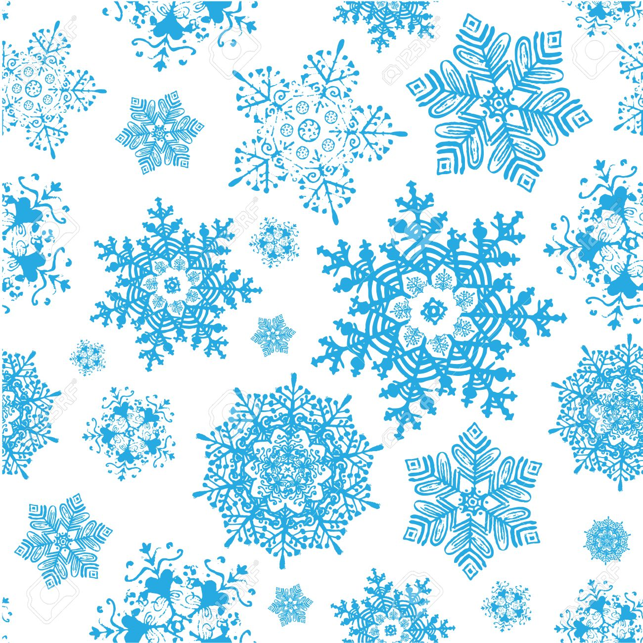 vector winter snowflakes blue christmas seamless pattern winter