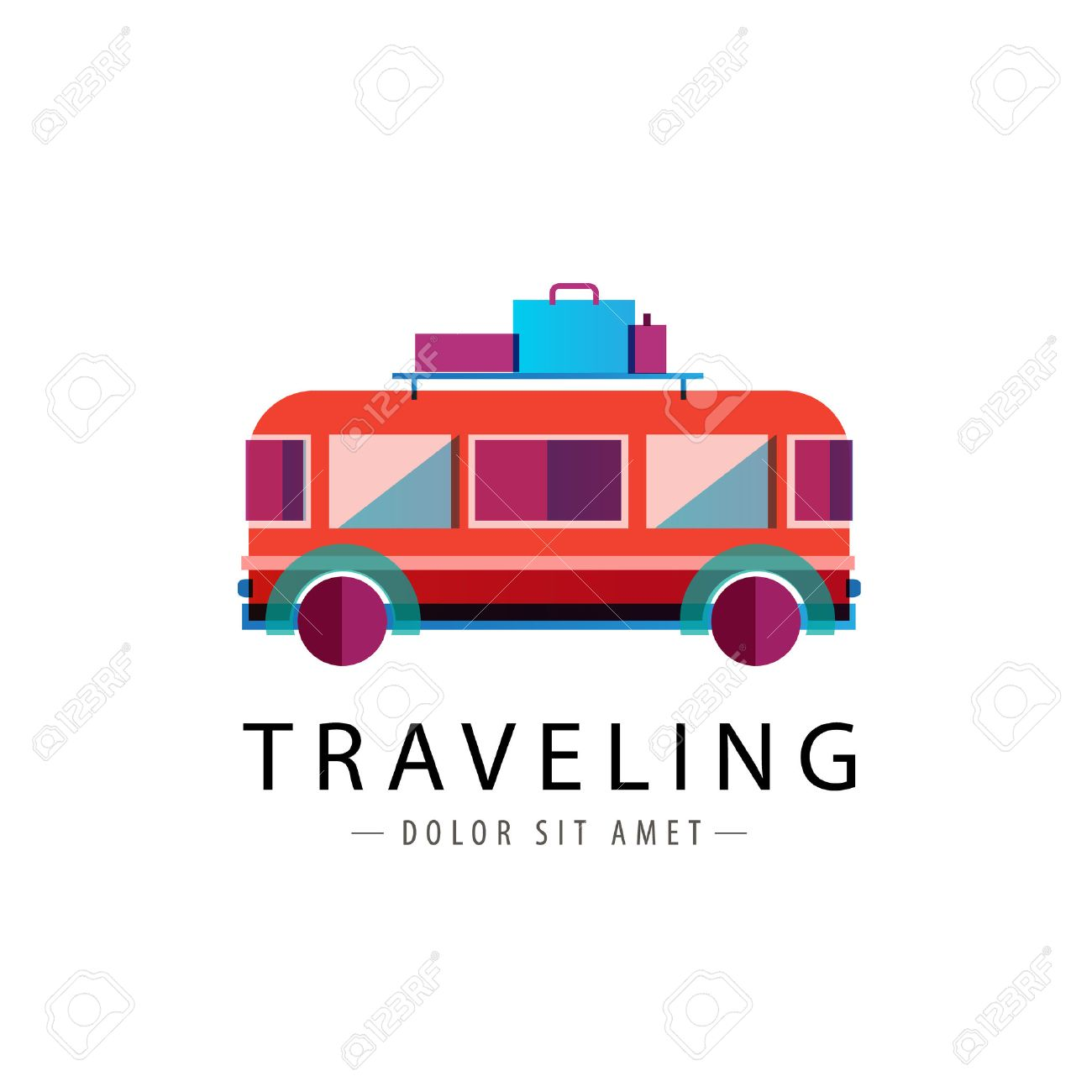 vector retro bus logo traveling icon isolated royalty free cliparts