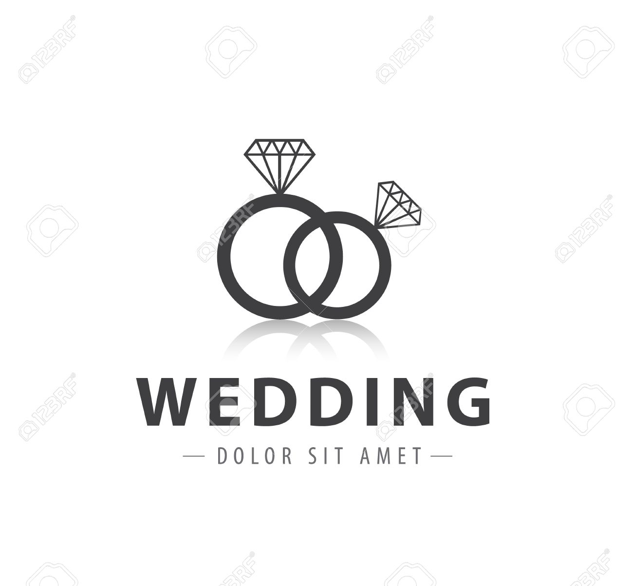 Vector Wedding Diamond Rings Logo Icon Isolated Royalty Free