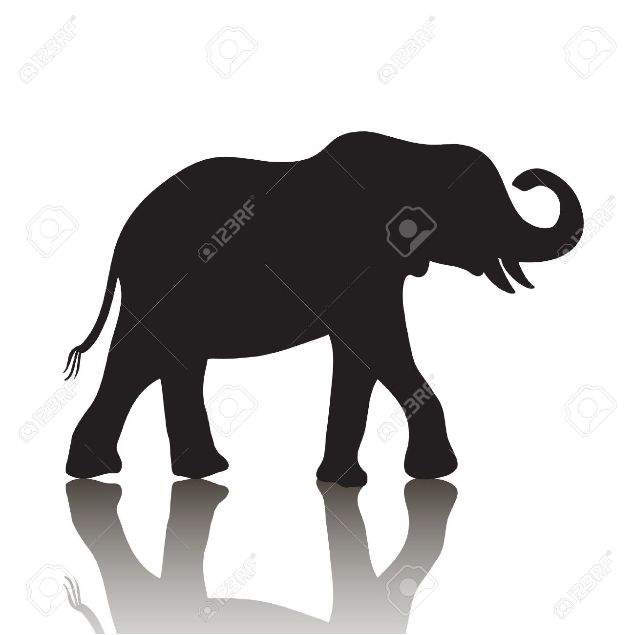 vector elephant silhouette with shadow isolated on white background stock vector 38017748