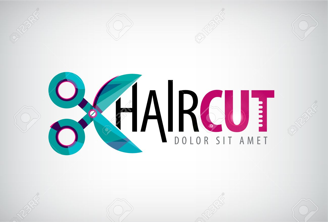 Vector Scissors Logo Icon Hair Cut Isolated Salon Standard Bild