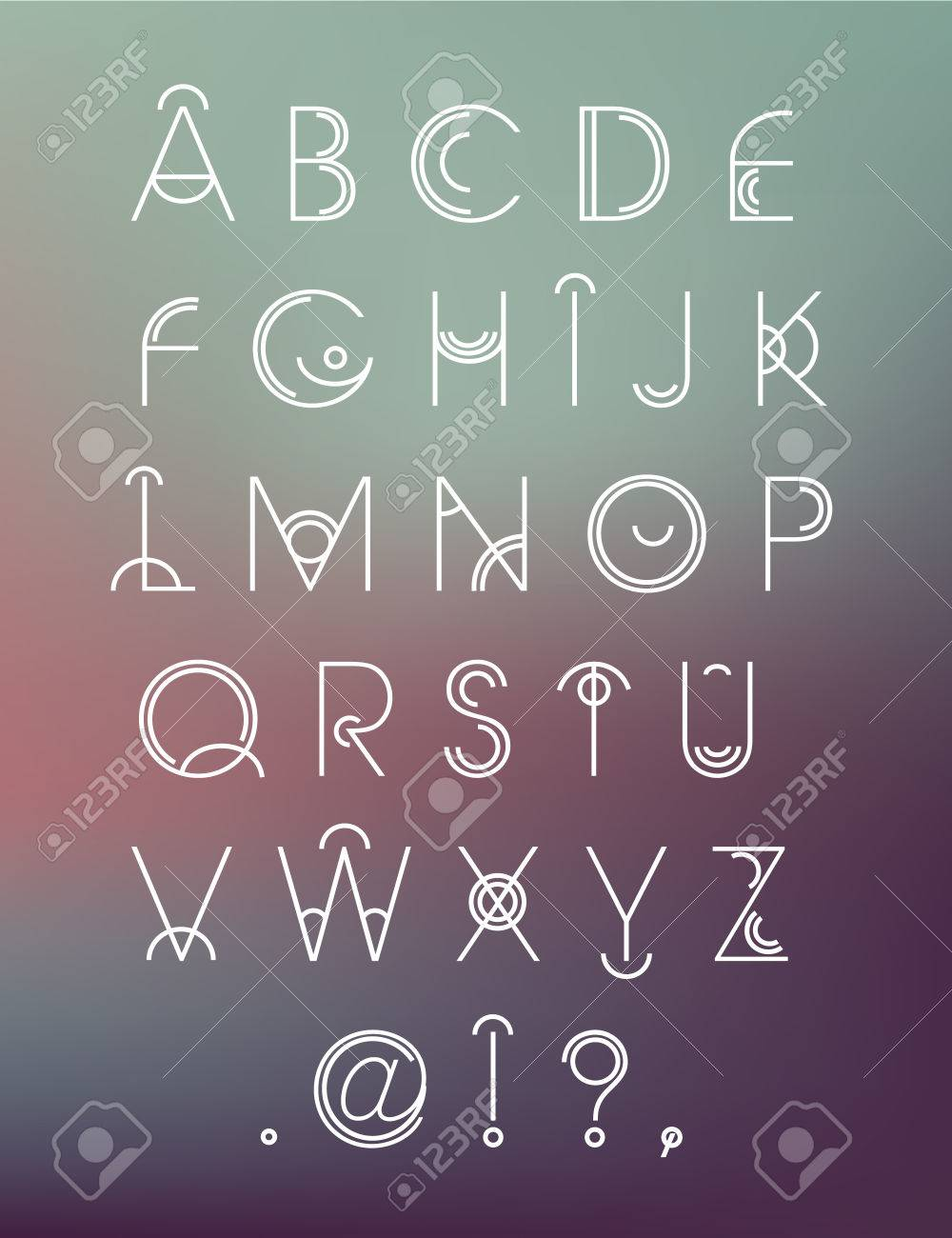 vector geometric hipster modern creative font abc letters on