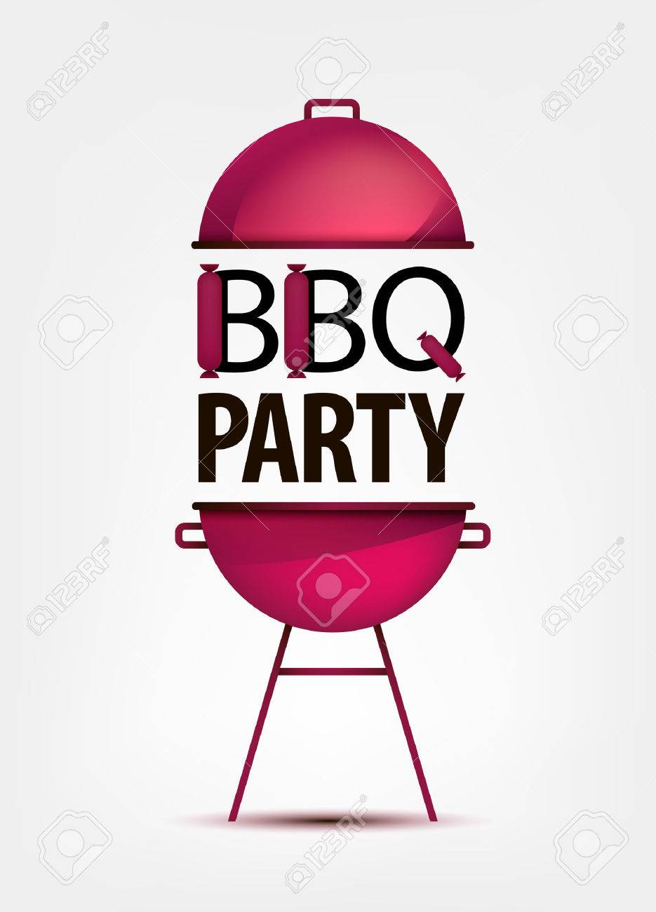 Barbecue BBQ Party Invitation With Grill Logo Icon Sign