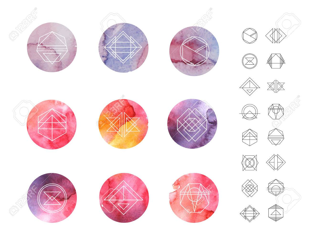 abstract circle watercolor patterns set with hipster style icons