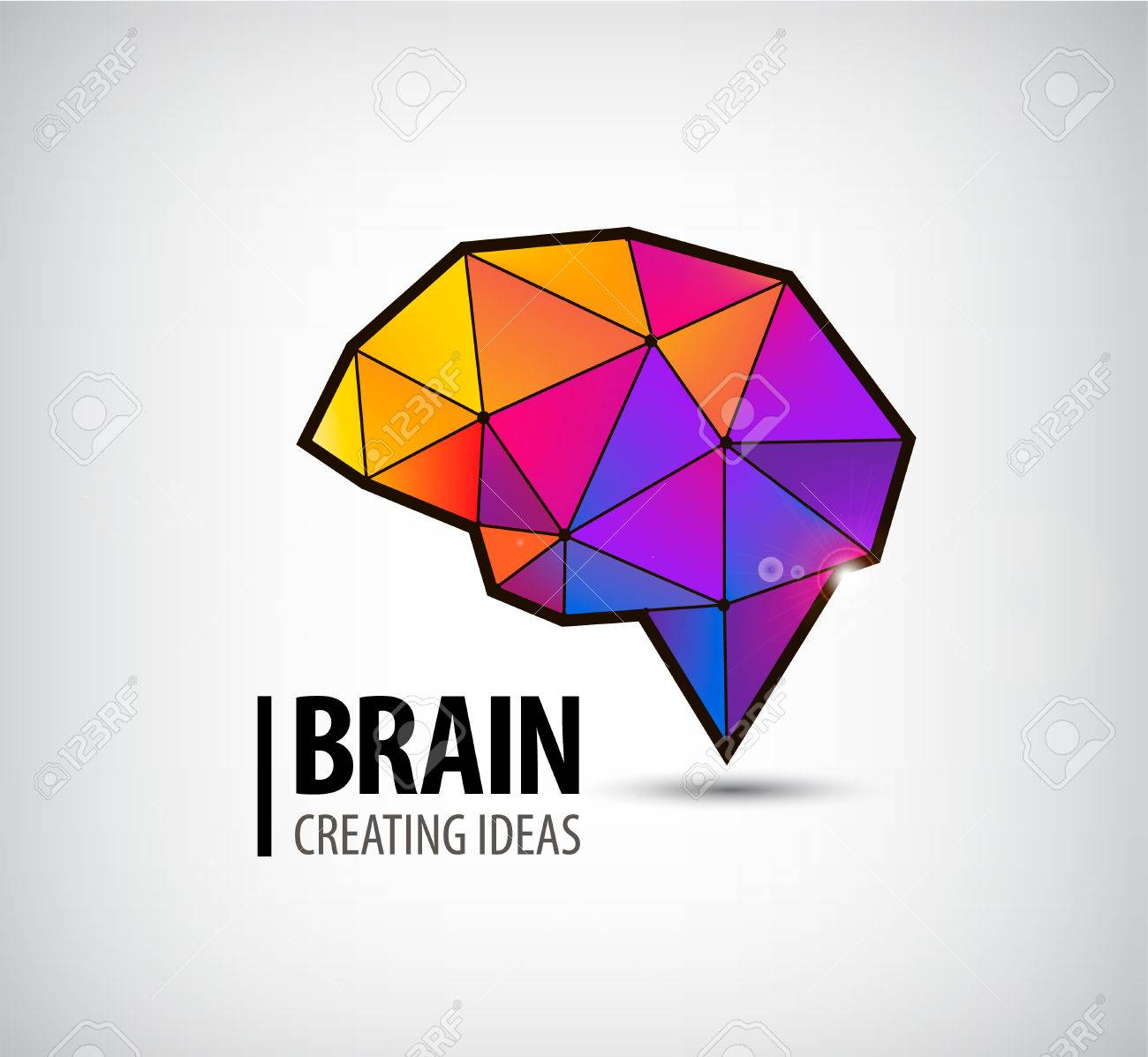 vector crystal brain logo, icon, illustration. Colorful 3d geometric sign - 43196883