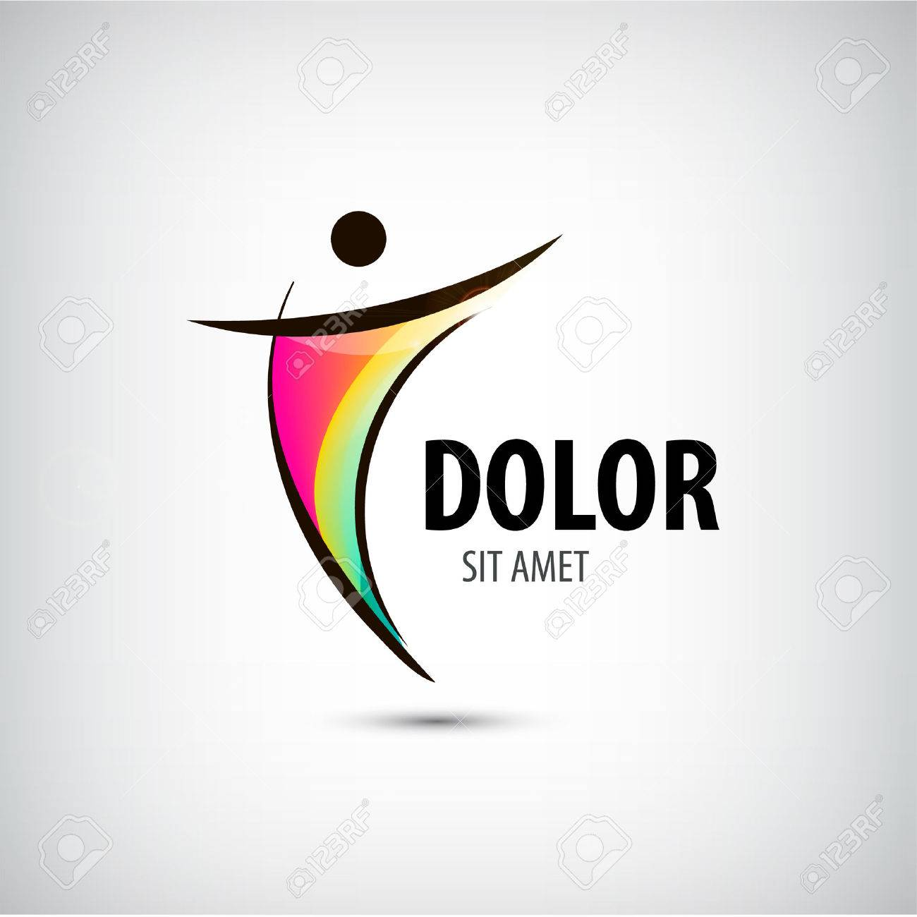 Corporate Success Health Winner logo template. Business concept. Human abstract. Vector line colorful icon. - 43196967