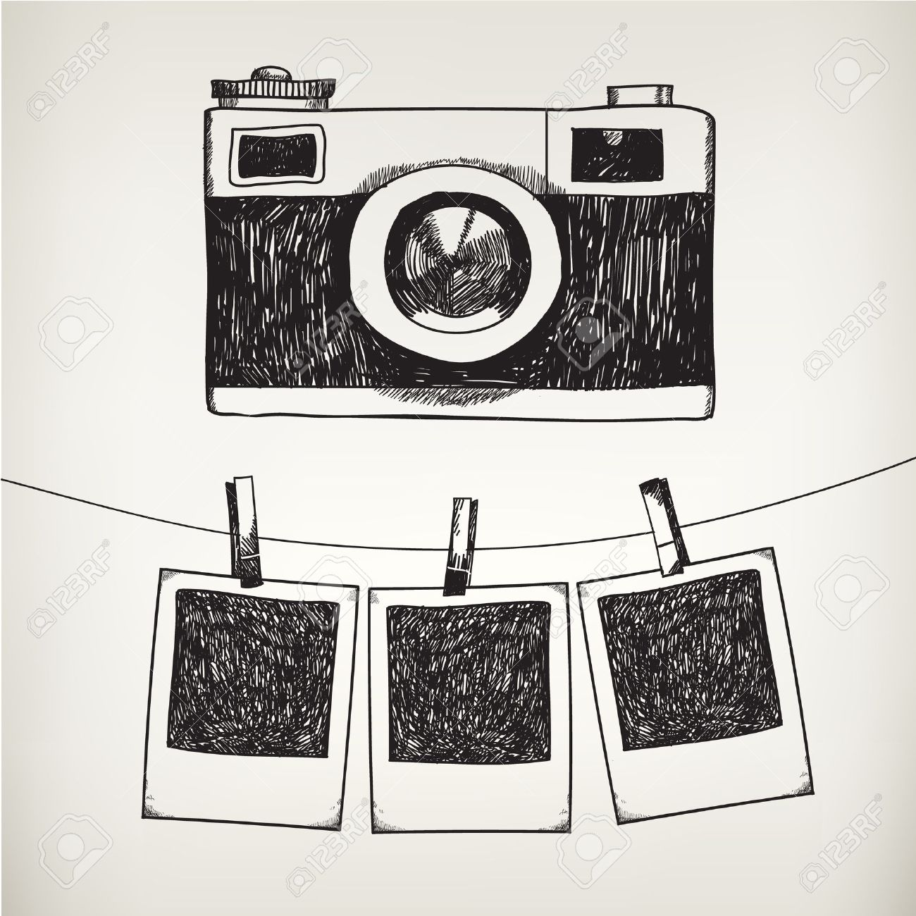 Vector hand drawn doodle illustration of retro photo frames and camera. Hanging photos in a photo studio. - 43197080