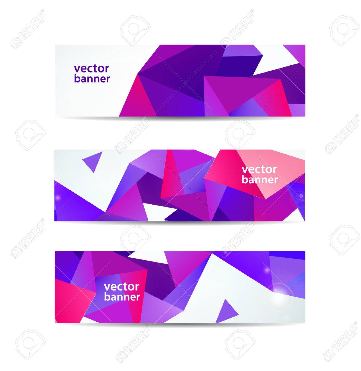vector set of crystal modern faceted geometric colorful banners isolated - 44438568