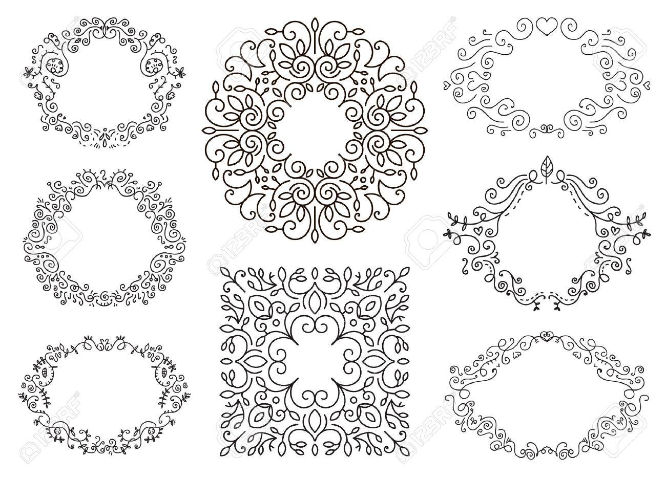 Flourish Black And White Frames Template Set. Swirling Calligraphic ...